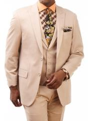 ID#NM856 Mens 2 Button 3 Piece Peak Lapel Suit Pleated Pants Vested Wool Suit Tan