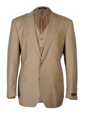ID#DB17196 Fashion Fit 3 ~ Three Piece Cut Tan 2 Button Notch Lapel Vested Suit