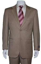 ID#PL1938 Two Button Tan Wedding / Prom ~ Beige Mini Pinstripe Suit