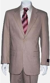 ID#JW0201 Two Button Tan Wedding / Prom ~ Beige Shadow Stripe ~ Pinstripe Suit