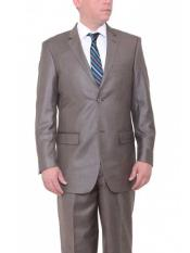 ID#NM712 Men's Taupe Brown Two Button Big and Tall  Large Man ~ Plus Size Suits  Classic Fit Textured Suit