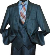 Sharkskin Peak Lapel V-Neck