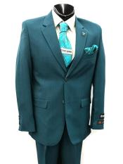Button Mens Teal Suit
