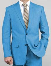 Button Notch Lapel Turquoise