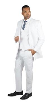 ID#NM1044 Men's 2 Button Three Piece TR Blend Wedding Suits For Men For Sale White