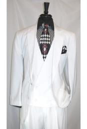 Two Button White Vest Suit