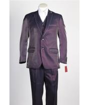 ID#NM609 Mens Two Piece 2 Button Wine Suit