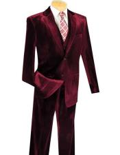 ID#NM1227 Pre order to ship Jan/15/2020 Men's Two Button 3 ~ Three Piece Velvet Vested Wine Suits