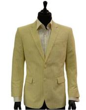 ID#DB22167 Two Button Yellow White Classic Seersucker suit Affordable Cheap Priced Unique Fancy For Men Available Big Sizes on sale Trending Formal Best Cheap Blazer For Men Affordable Sport Coats Sale