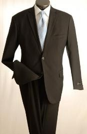 ID#UT2 Taper Slim Cut Design Narrow Lapels Flat Front Inexpensive - Cheap - Discounted Trousers Cheap Priced Fitted Tapered cut Dark color Black Wedding / Prom Two buttons