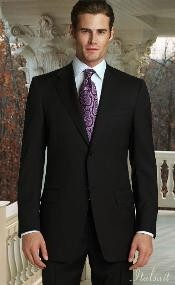 Classic 2pc Two buttons Jet Dark color black Superior fabric 150's Suit with Hand Pick Stitching on Collared