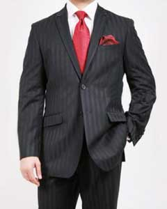 ID#JY3471 Two buttons Dark color black Tone on Tone Cheap Priced Fitted Tapered cut Suit