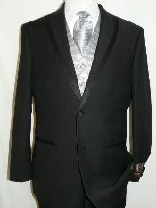 ID#KA1246 Spencer Tuxedo Soft Micro Fiber Peak Collared Two buttons Plain Front Pants