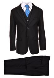 ID#DB21862 2 Buttons Five Piece  Black Vest kids suits available in little boys 3 three piece suit