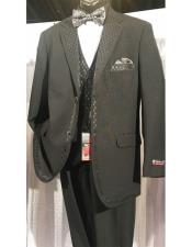 ID#DB20466 Black Two Buttons Vested Cheap Homecoming Tuxedo With Design Lapel & Matching Vest