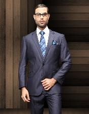 ID#REW32 TZ_Ber Pick Stitch Collar Slanted Pocket 2 Btn navy blue colored Shadow Stripe ~ Pinstripe Suit