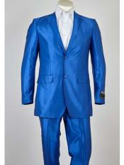 ID#SM951 Two buttons Superior fabric 150's Notch Collared Blue  Slim Fit Lightweight Material Summer Polyester Suits Men