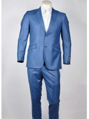 ID#SM966 Two buttons Blue Peak Collared Slim Fit  Lightweight Material Summer Polyester Suits Men