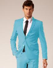 ID#SKB943 Two buttons Style Wool fabric & Cotton Suit Flat Front Pants Light Blue ~ baby blue