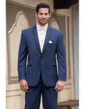 ID#DB17559 Two Buttons   Notch Lapel Wool Modern Slim Fit Slate Blue navy blue suit wedding  Prom ~ Wedding Groomsmen ​Cheap Homecoming Tuxedo Suits