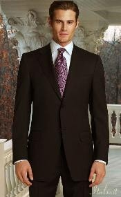 ID#MK2394 Classic 2pc Two buttons Coco Chocolate brown Superior fabric 150's Suit With Hand Pick Stitching on Collared