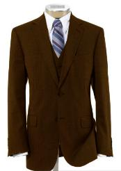 ID#BER-TZ100 Two buttons Wool fabric 3 ~ Three Piece Vested Dark Coco Chocolate brown Suit with Pleated creased Trousers