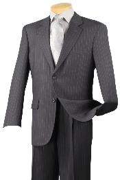 ID#CHM422 Notch Collar Pleated creased Pants Executive Classic Stripe ~ Pinstripe Dark Charcoal Masculine color Suit 2RS-16