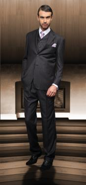 ID#QAN33 Classic 3pc 2 Btn Charcoal Masculine color Suit Superior fabric 150's 1 Pleat Pants Italian Fabric