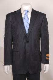ID#WQ102 Dark Charcoal Masculine color Stripe ~ Pinstripe Two buttons without pleat flat front Pants Wool fabric Suit