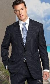 Two buttons Color Dark Charcoal Masculine color With Pinstripe Suit Classic Fit 2 Piece Suits - Two piece Business suits Suit Athletic Cut
