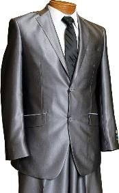 ID#MU3819 Two buttons Dark Charcoal Masculine Grey Inexpensive ~ Cheap ~ Discounted Clearance Sale Extra Slim Fit Prom Shiny Flashy - Mens Sharkskin Suit