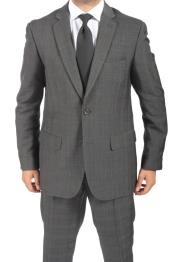 ID#VR3826 Two buttons Inexpensive ~ Cheap ~ Discounted Clearance Sale Extra Slim Fit Prom Dark Charcoal Masculine color Subtle Glen Plaid Suit