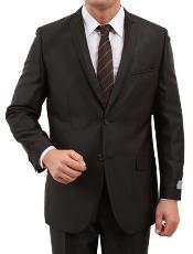 Two buttons Front Closure Peak Collared Satin Trim Pic Stitch Cheap Priced Fitted Tapered cut Suit Dark color black