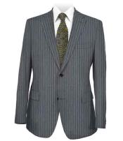 ID#SM906 Stripe Two buttons Dark Grey Notched Collared Side Vent Suit
