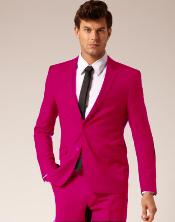 Make Two buttons Style Wool fabric & Cotton Suit Flat Front Pants Fuchsia