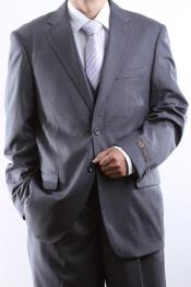 ID#PN27 Two buttons Gray Tonal three pieces Vested Dress Suit