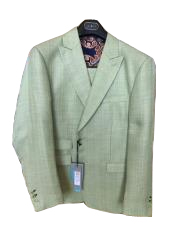 ID#DB18464 2 Buttons Linen For Beach Wedding outfit ~ Cotton Summer Fabric Green Suit Ticket Pocket