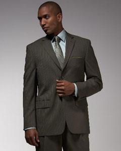 ID#QM1382 Two buttons Dark Olive Green Pinstripe Pattern of Very Thin Stripe ~ Pinstripe affordable suit online Reduced Price