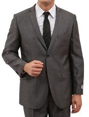 ID#M157S000 Basic Solid Plain Herringbone Tweed Two buttons Front Closure Cheap Priced Fitted Tapered cut Suit