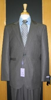 ID#KZ600 Two buttons Grey Silk Blend Custom Flat Front Center Vented Cheap Priced Fitted Tapered cut Suit