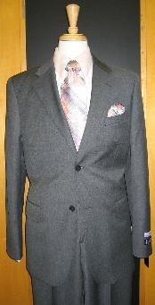 ID#IF643 Two buttons Grey Pinstripe Flat Front Wool fabric Cheap Priced Fitted Tapered cut Suit