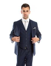 ID#DB21861 2 Buttons Ink Blue ~ Midnight ~ 1 Shade Lighter Navy Blue 3 ~ Three Piece Wedding / Prom Cheap Clearance Sale Extra Slim Fit Prom Vested Suits