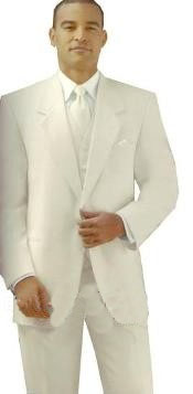 ID# Y724GA Ivory/Off White/Cream Two buttons Style jacket Notch Laple Tuxedo  non-vented back