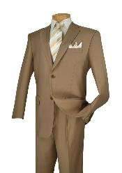 D62T_2TR-KHK89 Man Made Fiber-rayon Executive Pure Basic Solid Plain Khaki Suit Notch Collar Pleated creased Pants