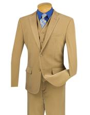 ID#DB21026 Two Buttons Pinstripe ~ Stripe Corduroy Khaki 3 Pieces Vested Flat Front Pants Three Piece Suit