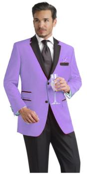 ID#VXZ99 Lavender Two Button Notch Party Suit & Prom ~ Wedding Groomsmen Tuxedo & Sportcoat Jacket w/ Dark color black Collared