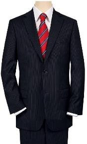 ID# S80028 High-crafted professionally Construction Two buttons navy blue colored MiniStripe Ultimate Tayloring& Wool fabric
