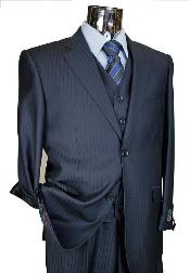 ID#KA6520 Navy Tone on Tone 3 ~ Three Piece Two buttons single Pleated creased pantsr Suit