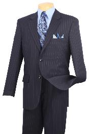 ID#NMA82 Notch Collar Pleated creased Pants Executive Classic Stripe ~ Pinstripe navy blue colored Suit 2RS-16