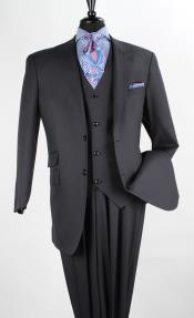 ID#QVW19 Wool fabric Blend Fashion 3 ~ Three Piece Suit -  Vest Navy